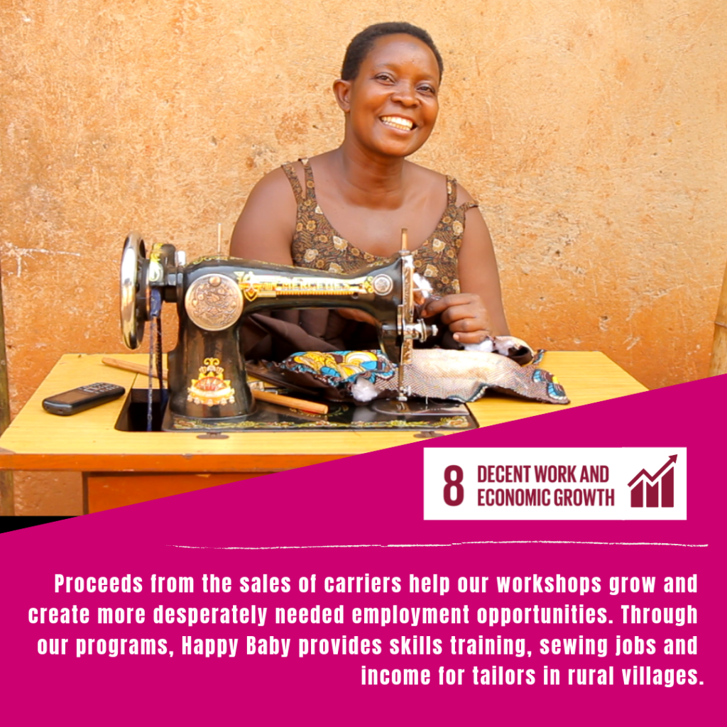 A Happy Baby tailor, smiles happily behind a sewing machine, sewing an ergonomic Happy Baby Carrier, on a graphic demonstrating how Happy Baby is proud to support the SDGs