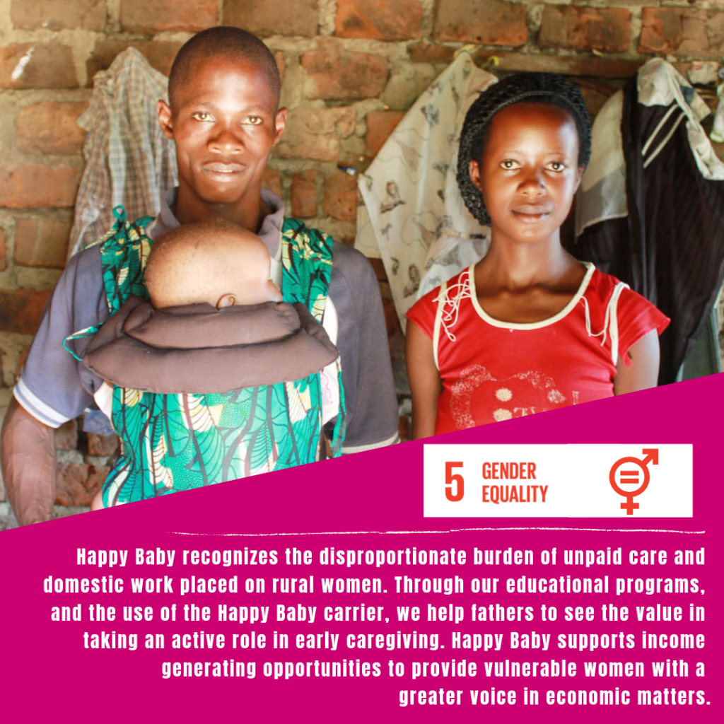 An african couple poses with the husband carrying their child in an ergonomic Happy Baby Carrier, on a graphic demonstrating gender equality and how Happy Baby is proud to support the SDGs